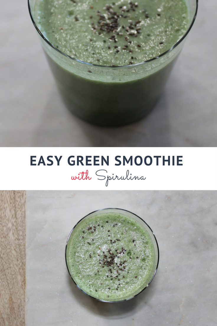 Easy green smoothie with Spirulina