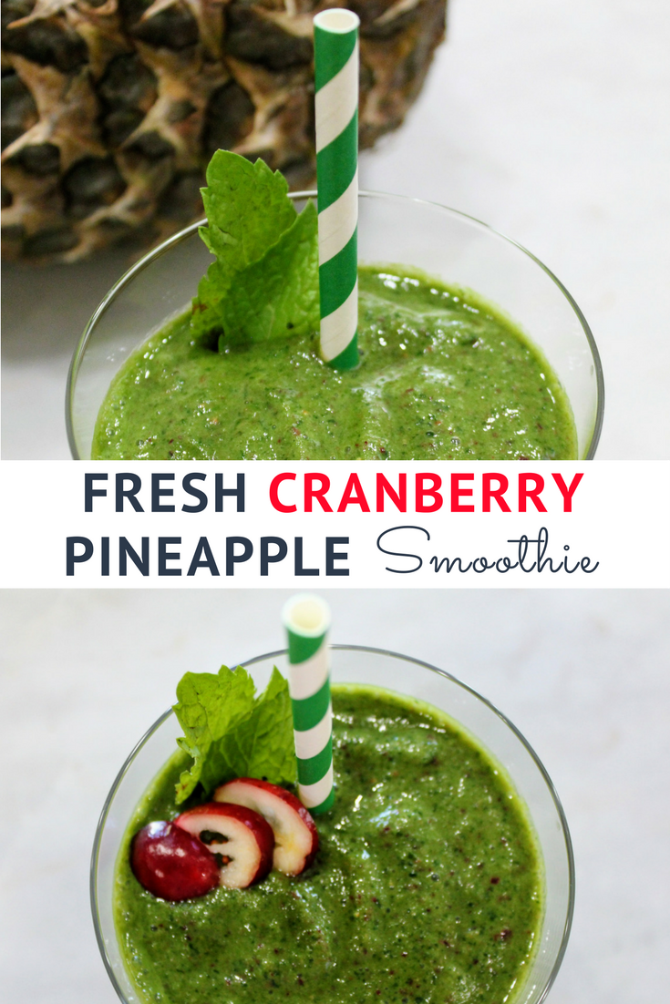 Fresh cranberry pineapple smoothie