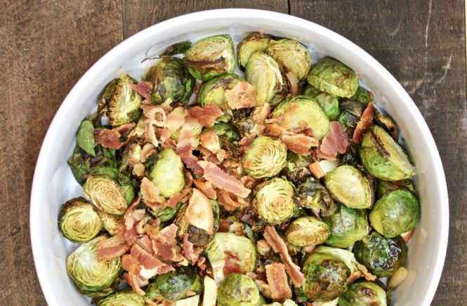roasted brussels with apples and bacon