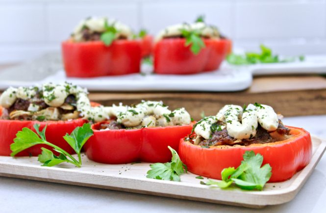 paleo stuffed pepper rings with cashew cheese