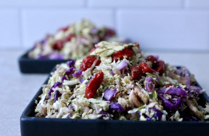 Shredded Brussel Sprout Salad with Goji Berries